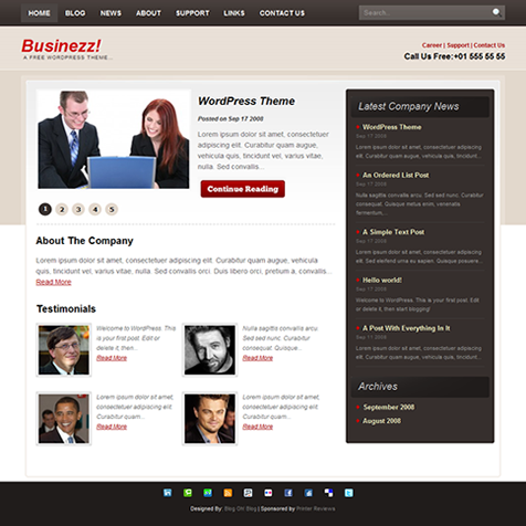 Businezz - A Free WordPress Theme